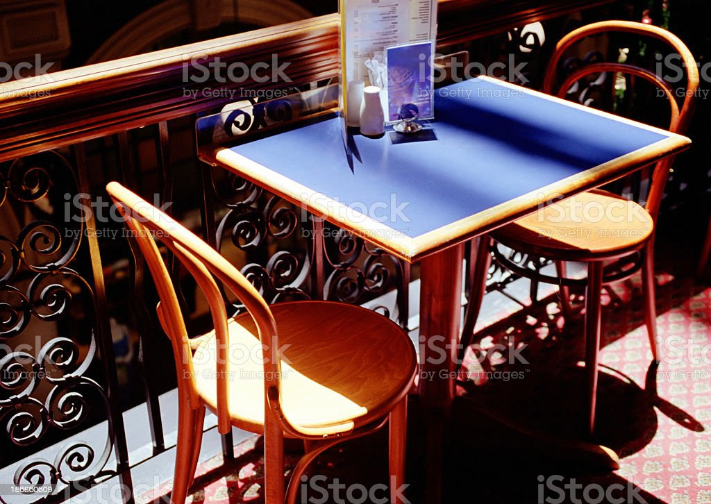 Café table for two stock photo