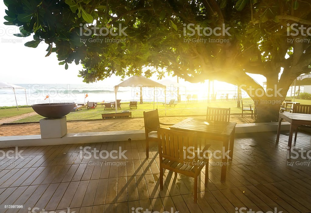 Cafe and ocean stock photo