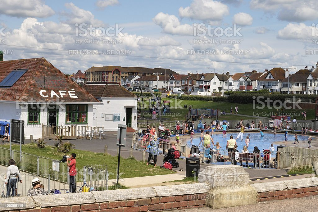 Cafe and paddling pool at Hove. Sussex. England royalty-free stock photo