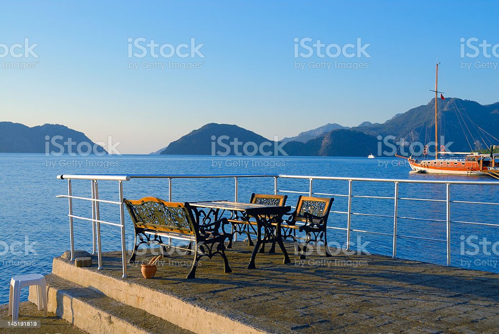 Cafe at a mooring royalty-free stock photo