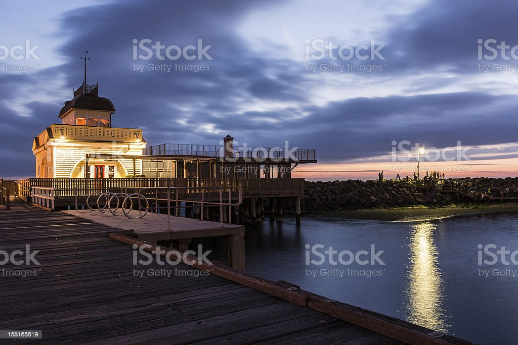 Cafe at end of the Jetty in Saint Kilda at dusk stock photo