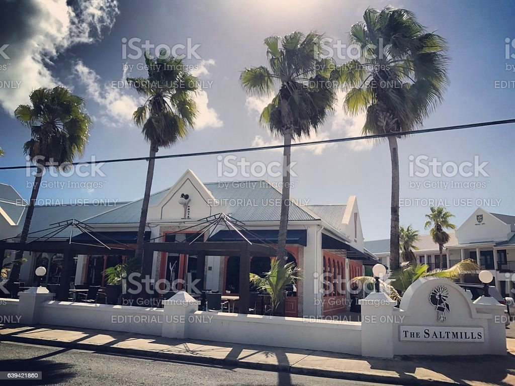 Cafe at  Saltmills Plaza, Providenciales. Turks and Caicos stock photo