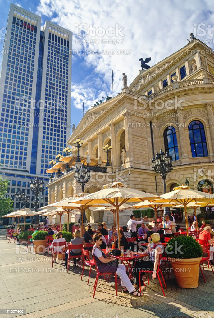 Cafe at the Alte Oper (Old Opera house) Frankfurt stock photo