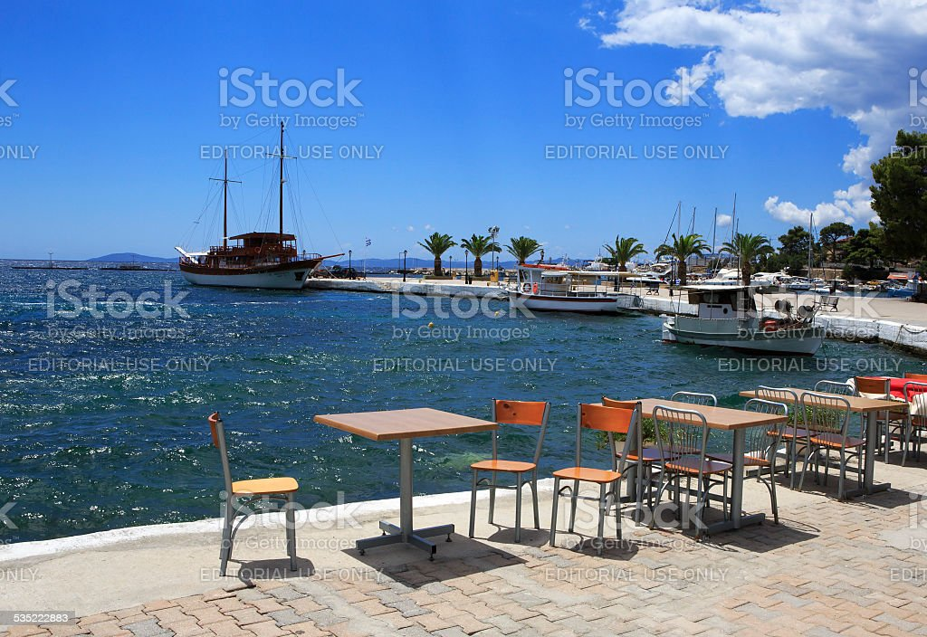 Cafe at the pier in Neos Marmaras stock photo