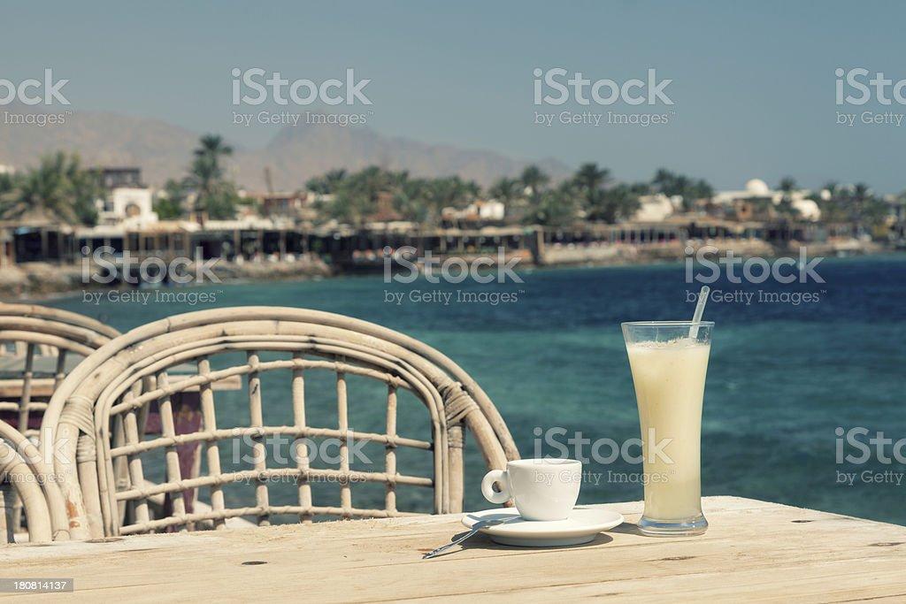Cafe at the promenade stock photo