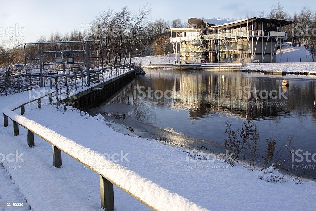 cafe beside a lake stock photo