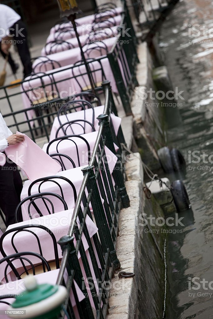Cafe Bistro Tables and Chairs in Venice, Italy stock photo
