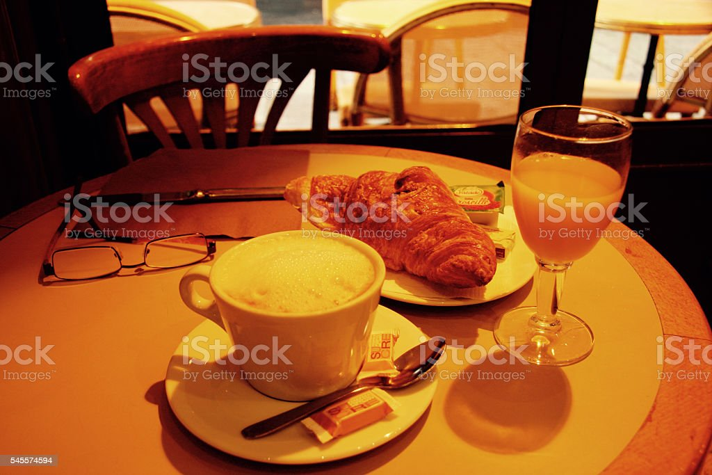 Cafe Breakfast in Paris stock photo