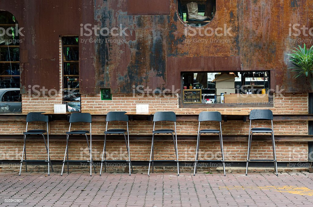 Cafe chairs at vintage cafeteria stock photo