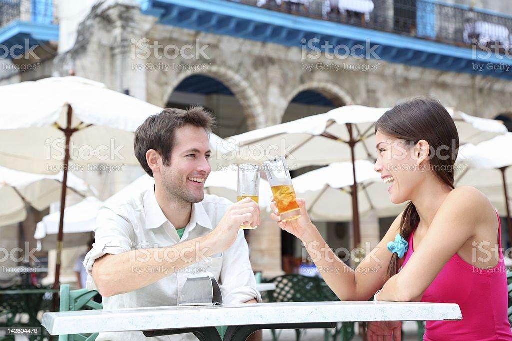 Cafe couple drinking stock photo