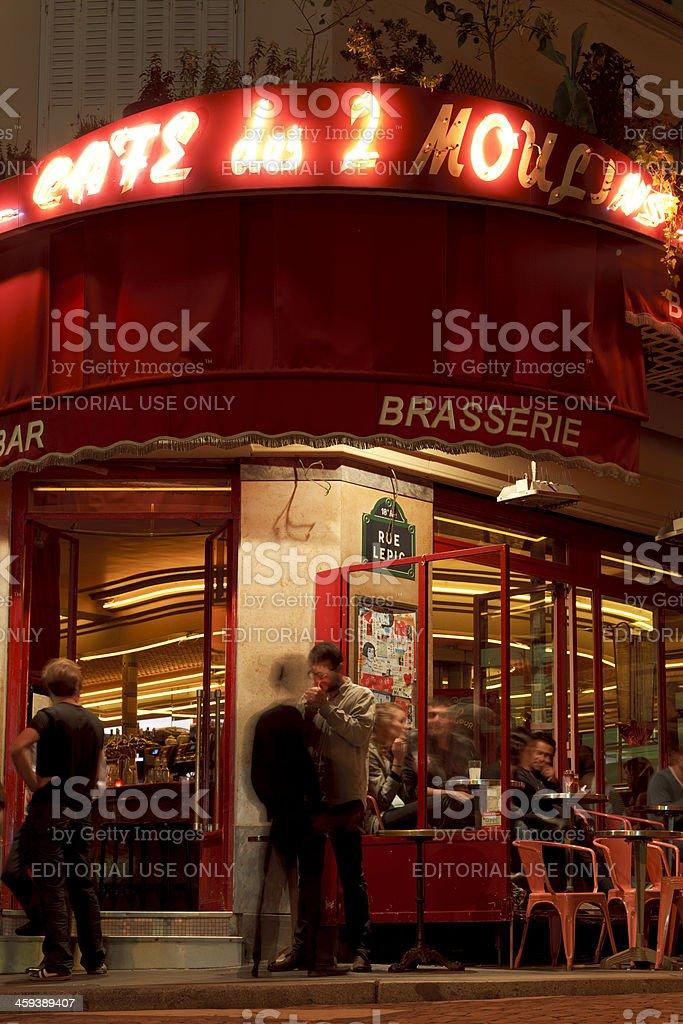 Cafe des 2 Moulins in Paris stock photo