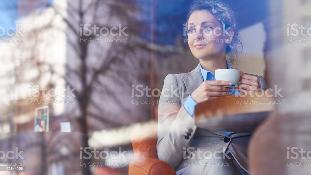 Cafe, dream, woman stock photo