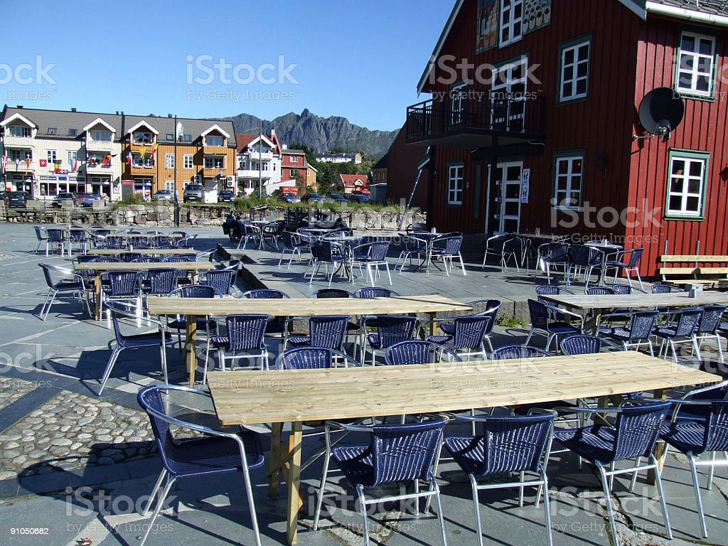Cafe in a small Scandinavian town stock photo