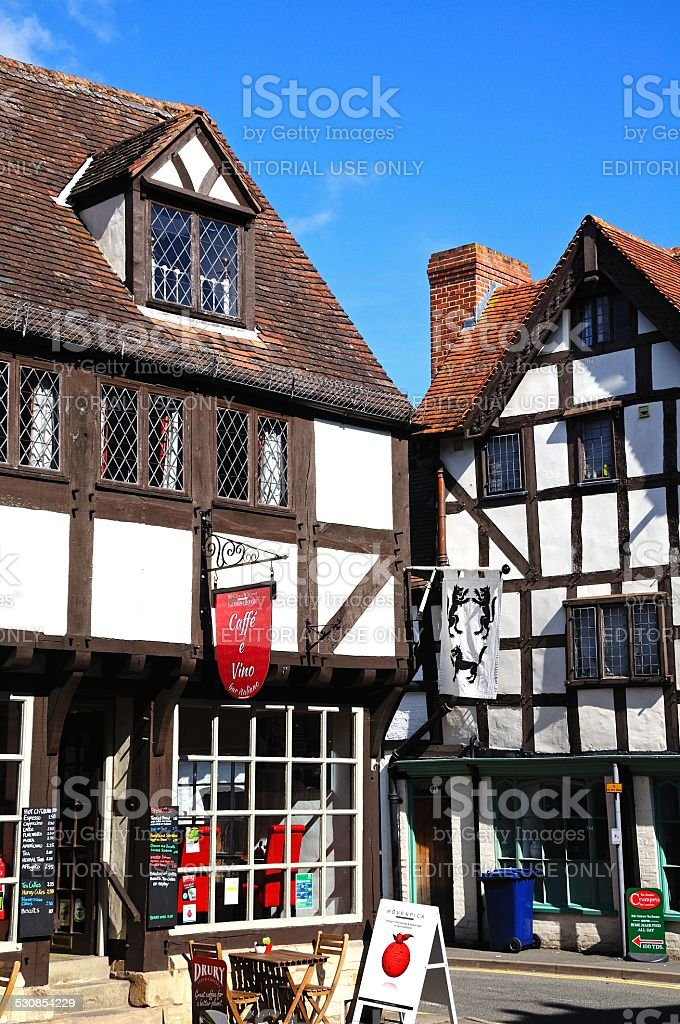 Cafe in a Tudor building, Tewkesbury. stock photo