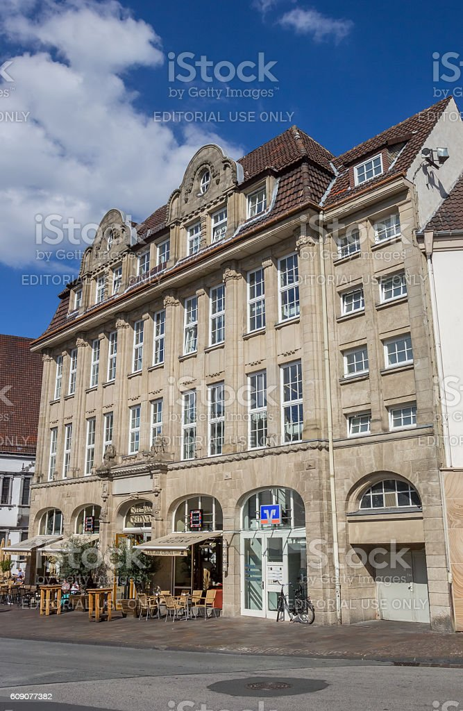 Cafe in an old building in the center of Paderborn stock photo