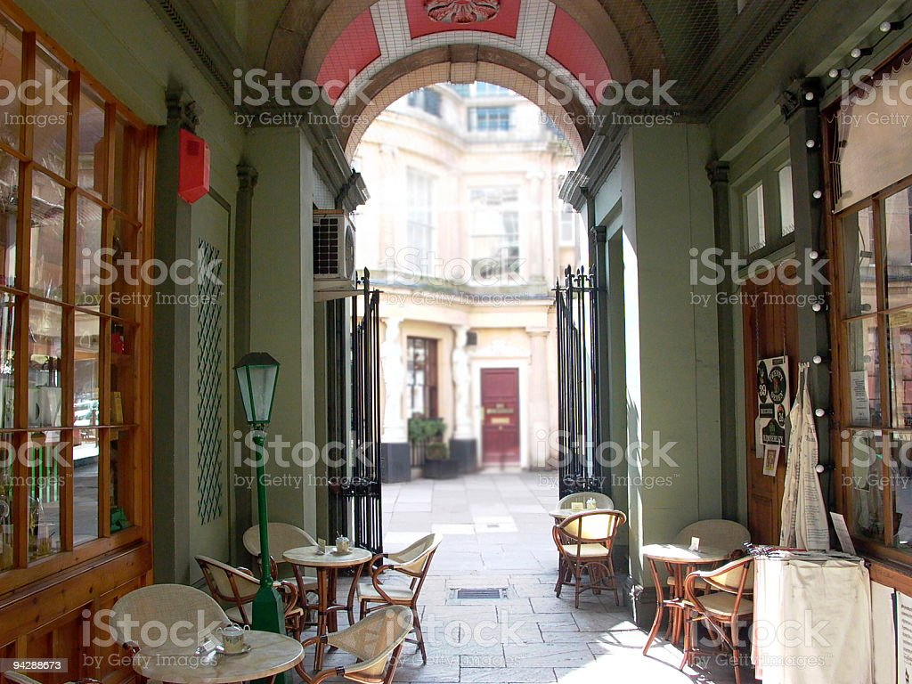 Cafe in covered arcade royalty-free stock photo