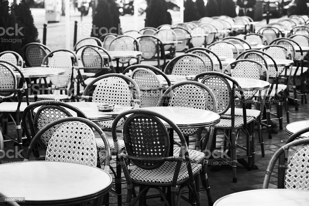 cafe in Europe, black and white stock photo