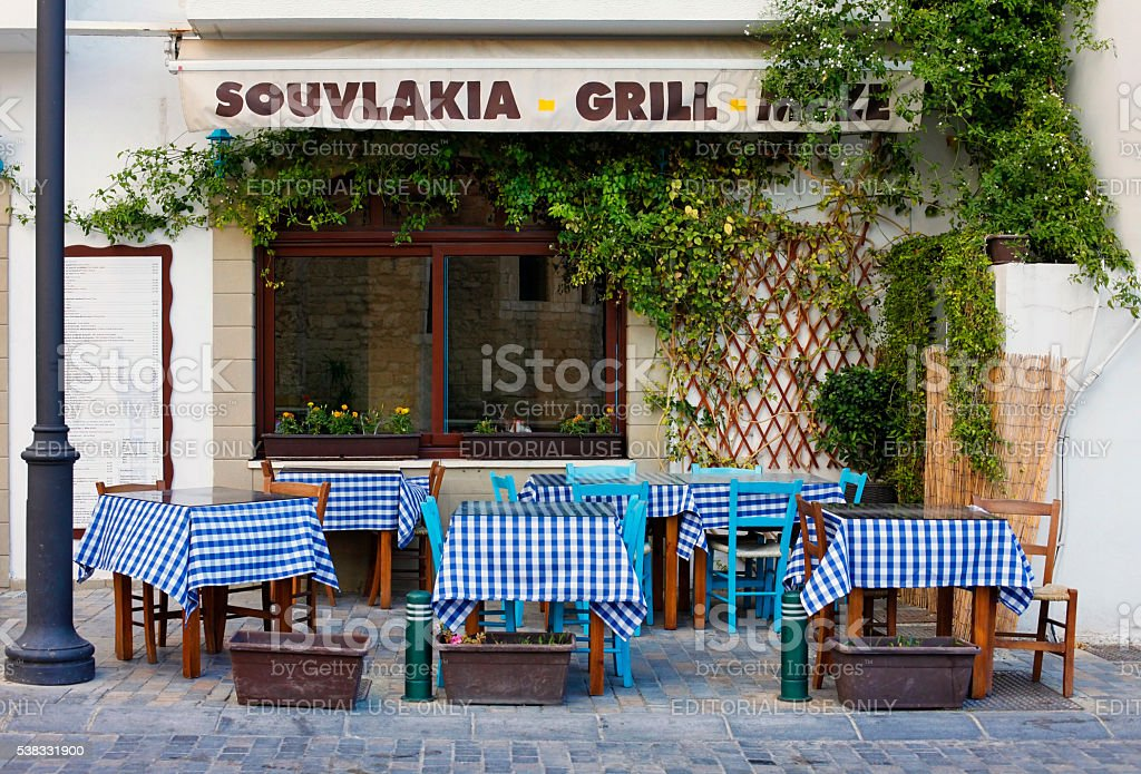 Cafe in Larnaca during Summe stock photo