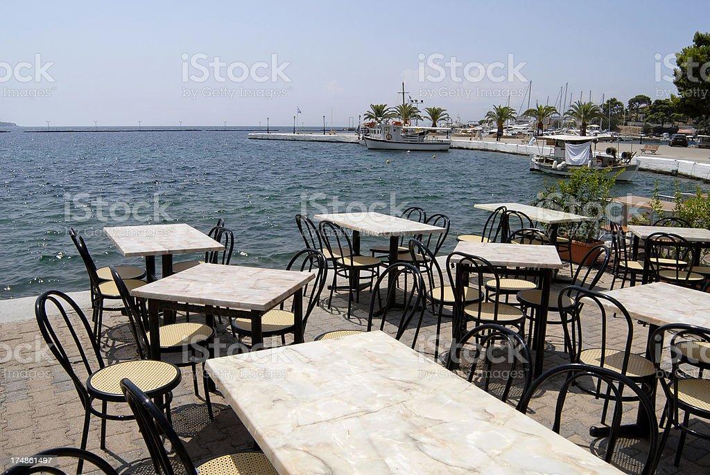'Cafe in Neos Marmaras, Greece' stock photo