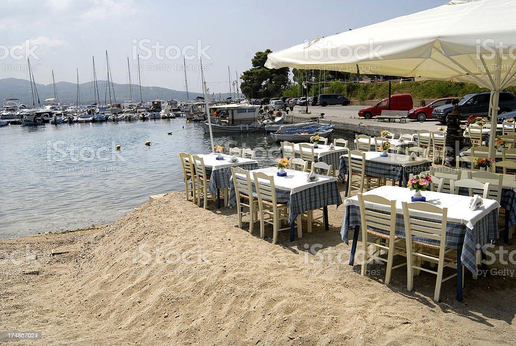 Cafe in Neos Marmaras, Greece stock photo