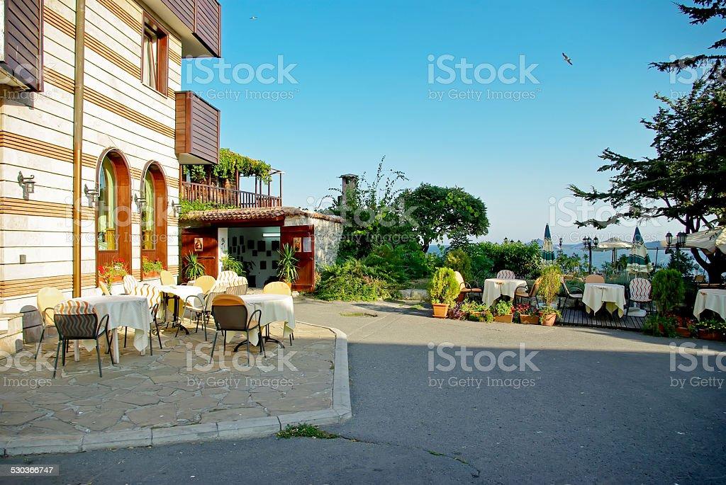 cafe in Nessebar stock photo