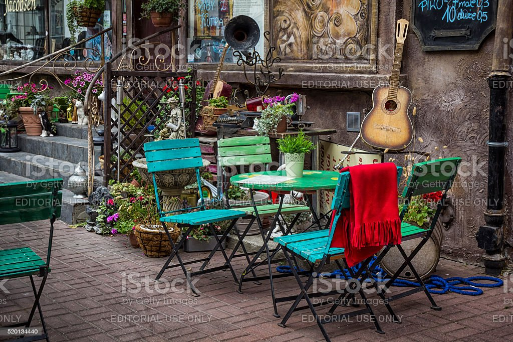 Cafe in Old Town in Gdansk, Poland stock photo