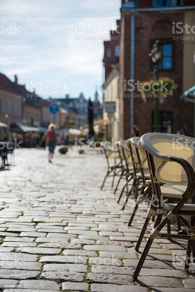 Cafe in old town of Kaunas, Lithuania stock photo