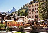 Cafe in Zermatt with Matterhorn mountain