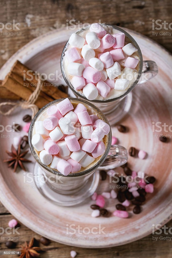 Cafe latte with marshmallow stock photo