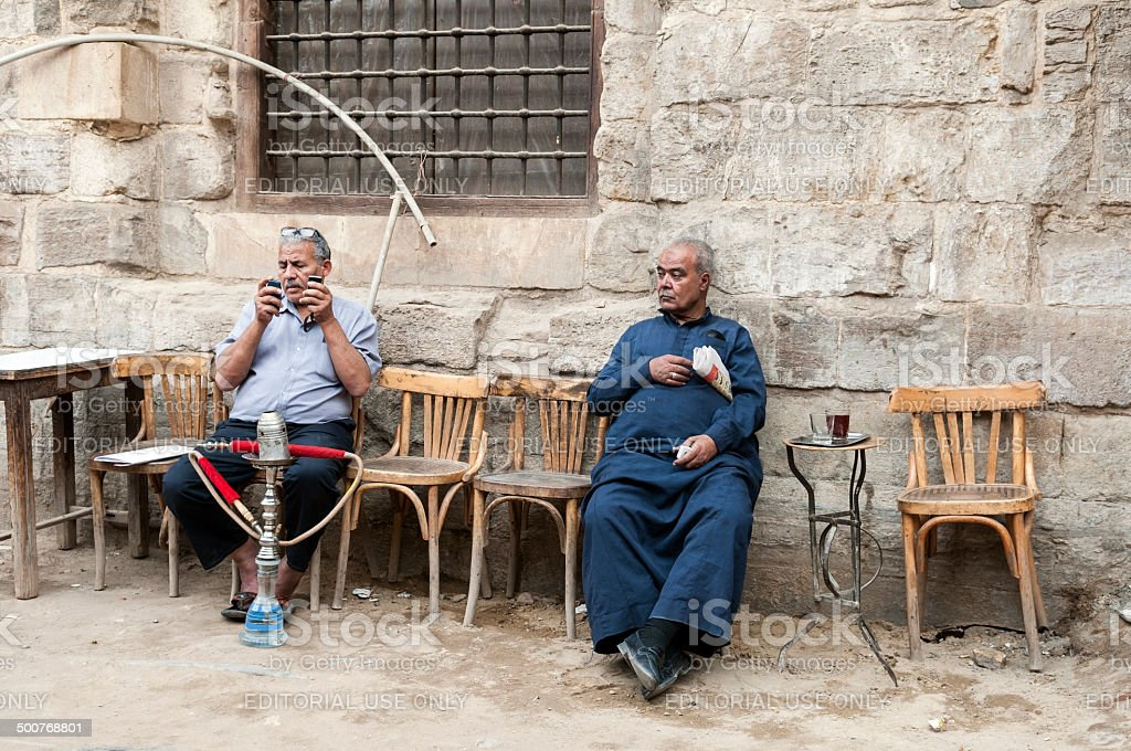 Cafe lifestyle in Cairo, Egypt stock photo
