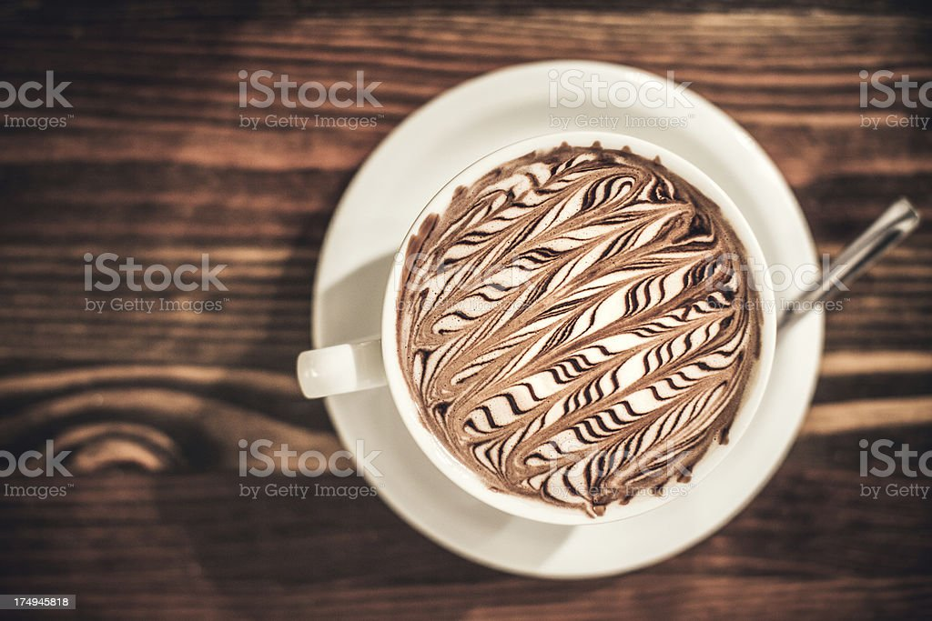 Cafe Mocha with Striped Foam Art royalty-free stock photo