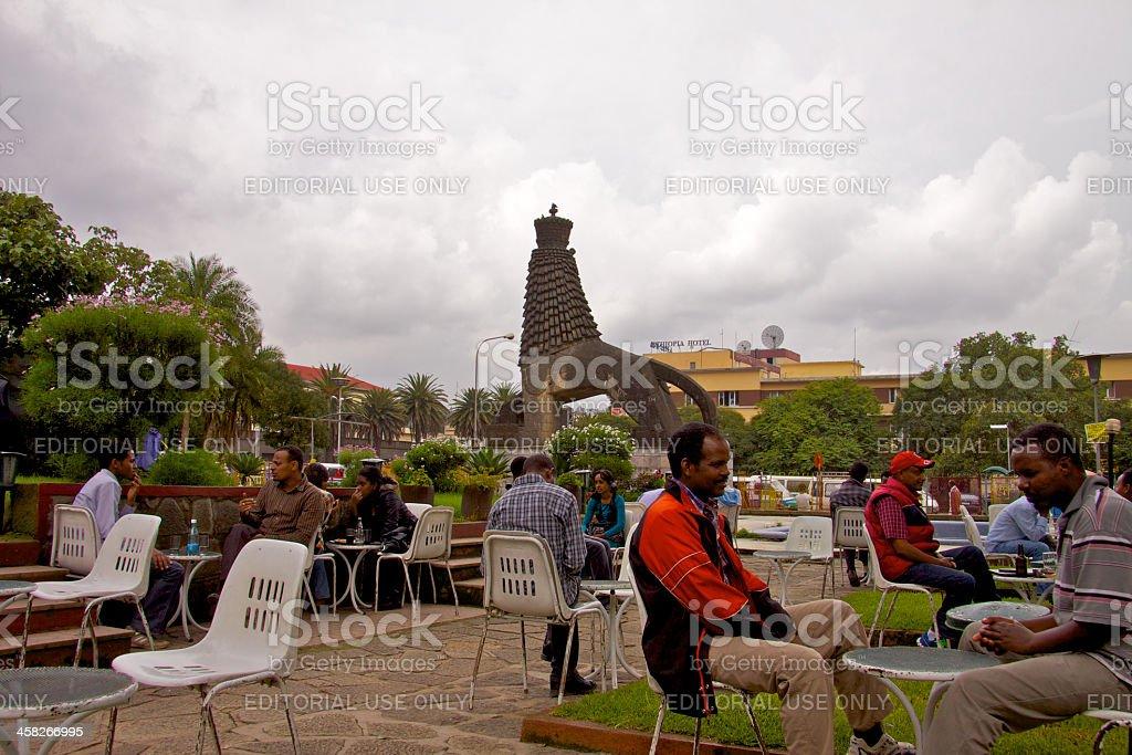 Cafe near Lion of Judah Monument royalty-free stock photo