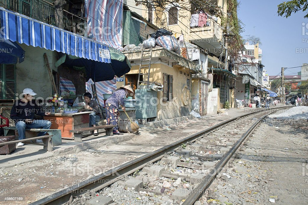 Cafe Near The Railway Tracks In Hanoi, Vietnam royalty-free stock photo