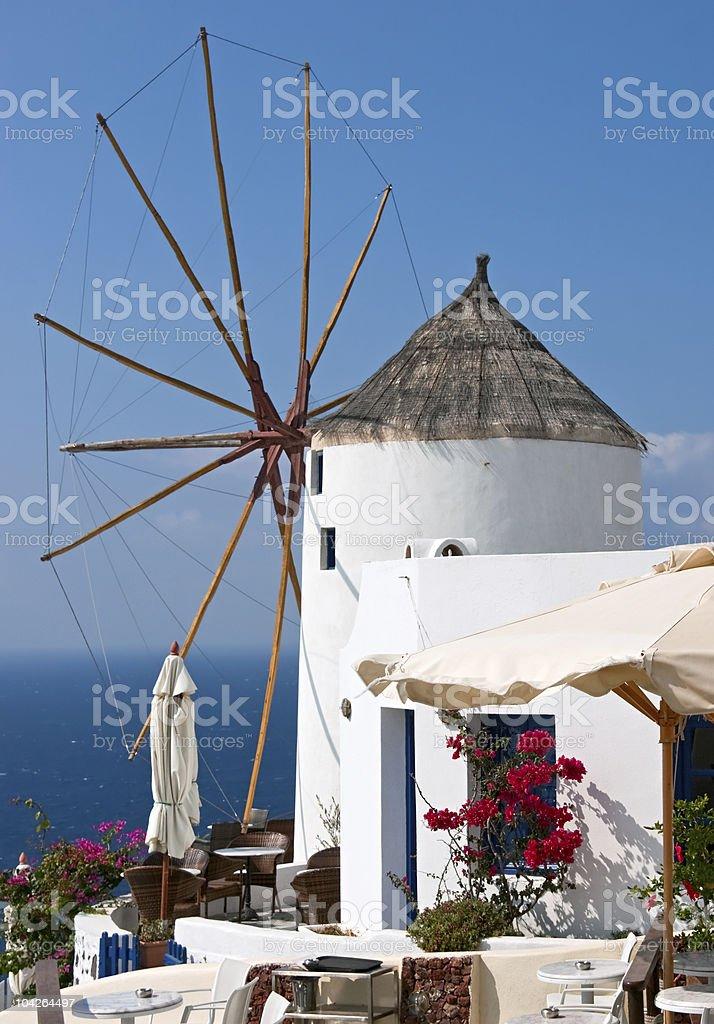Cafe near windmill royalty-free stock photo