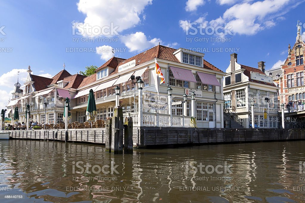 Cafe on a Water's Edge, Amsterdam stock photo