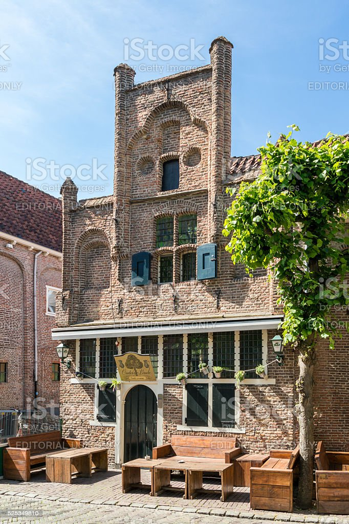 Cafe on Groenmarkt square in Amersfoort, Netherlands stock photo