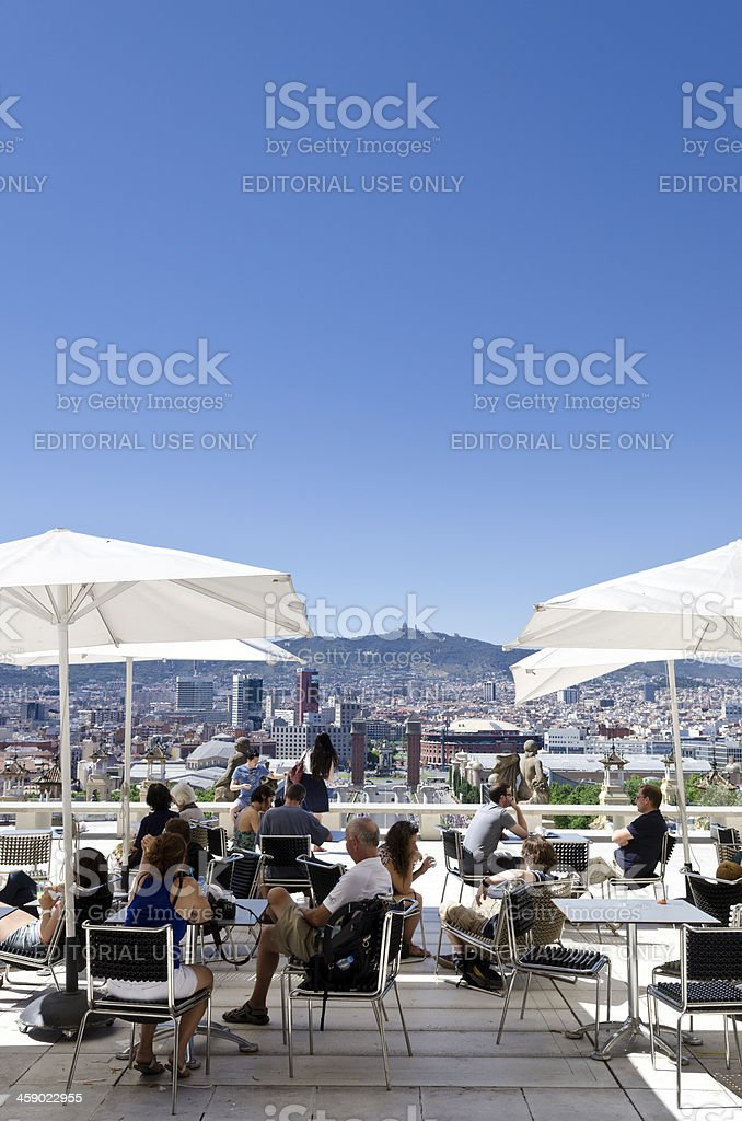 Cafe on Montjuic overlooking central Barcelona, Spain. royalty-free stock photo