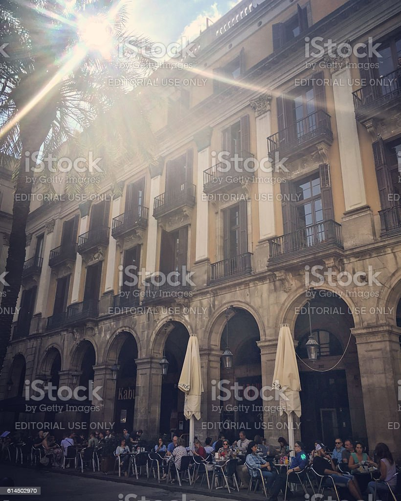 Cafe on Plaza real, Barcelona, Spain stock photo