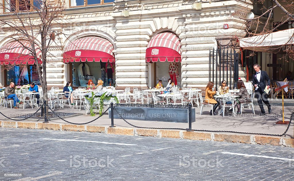 Cafe on Red Square stock photo