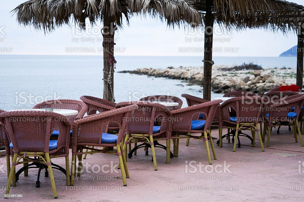 Cafe on the embankment with a sea view stock photo