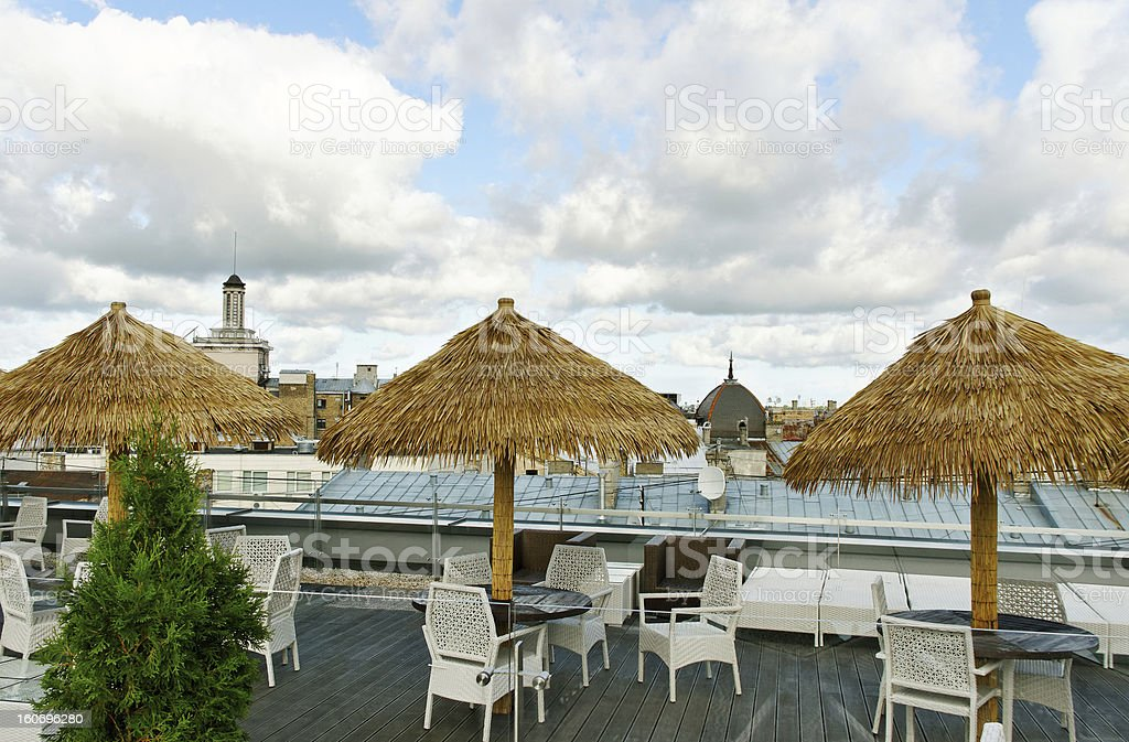 Cafe on the roof. royalty-free stock photo