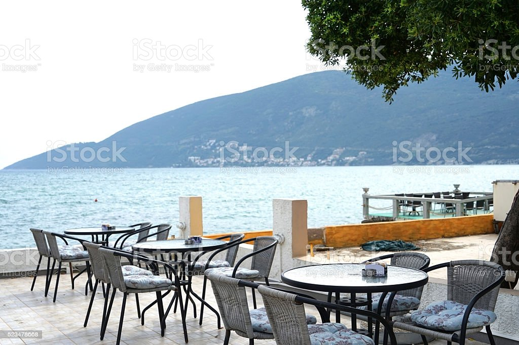 Cafe on the waterfront stock photo