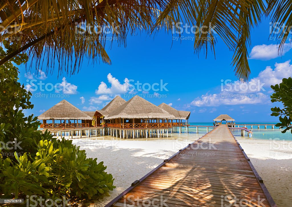 Cafe on tropical Maldives island stock photo