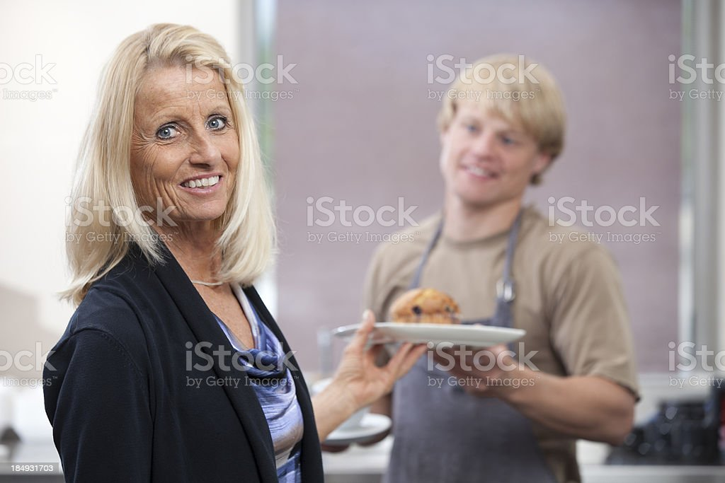 Cafe: Quality Customer Service Serving Fresh Food and Coffee stock photo