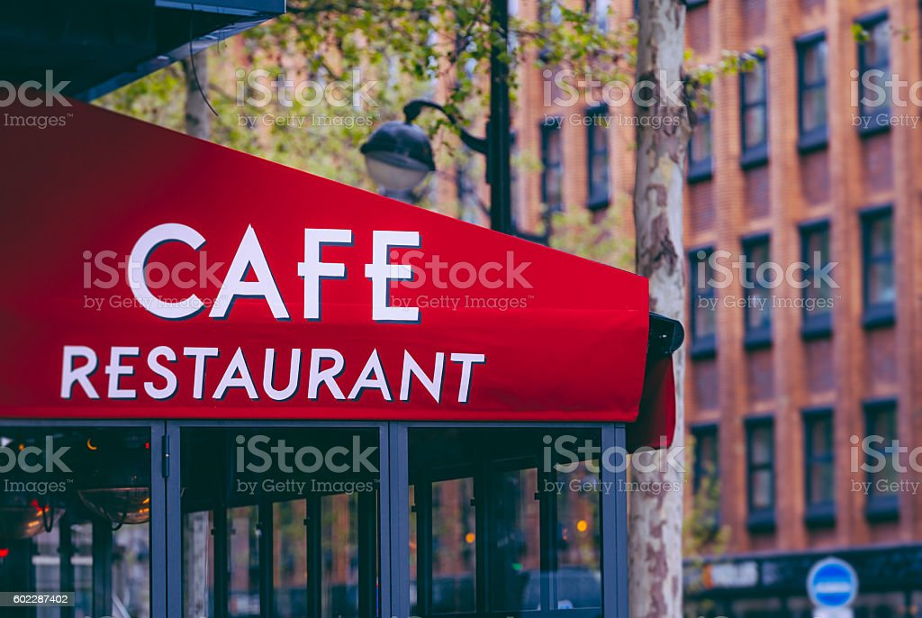 Cafe - Restaurant sign in France stock photo