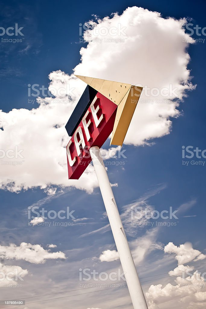 Cafe sign along historic Route 66 in Texas. royalty-free stock photo