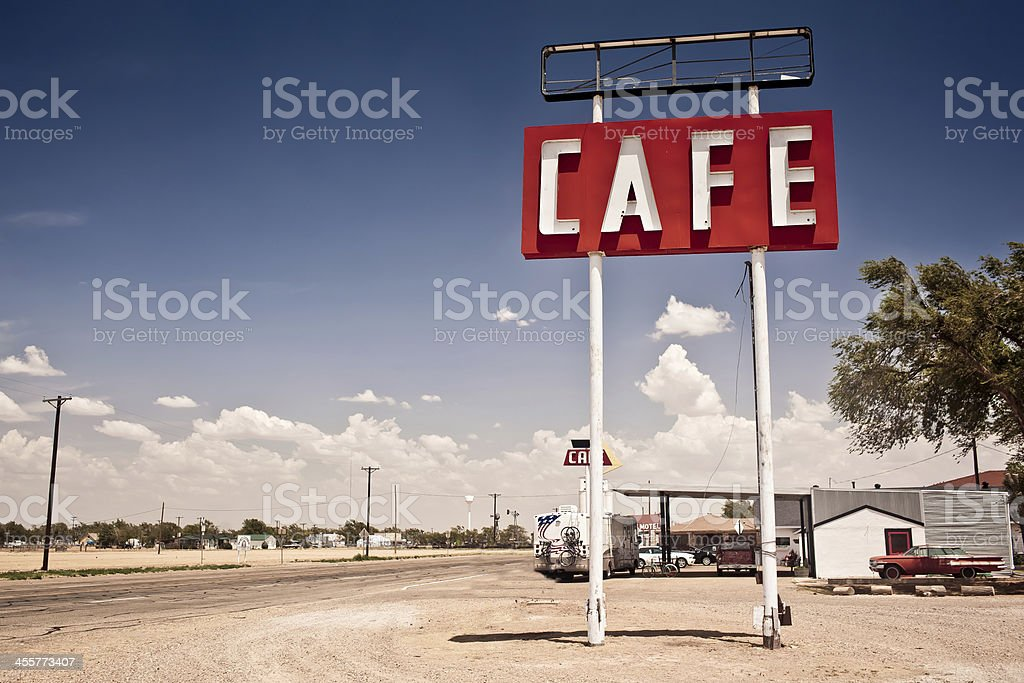 Cafe sign along historic Route 66 in Texas. stock photo