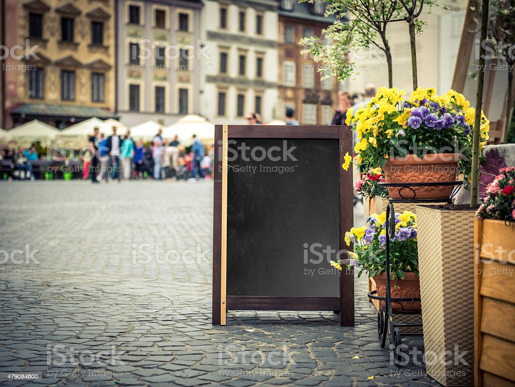 Cafe sign with space for text stock photo