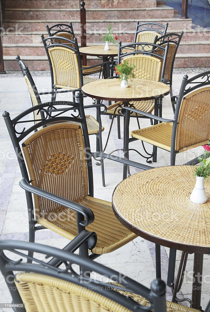 Cafe table and chairs royalty-free stock photo