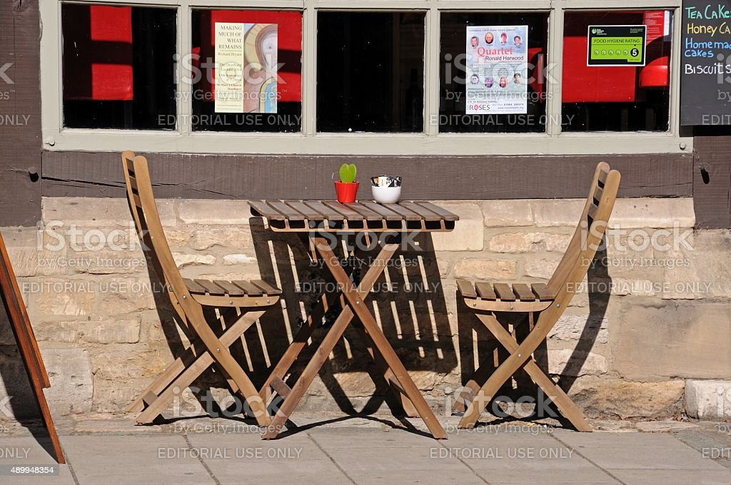 Cafe table and chairs, Tewkesbury. stock photo